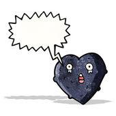 мультфильм черный сердце — Cтоковый вектор