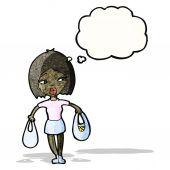 Cartoon-Frau, die die Einkaufstaschen — Stockvektor