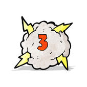 Cartoon thunder cloud with number three — Stock Vector