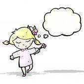 мультфильм девушка с цветком — Cтоковый вектор
