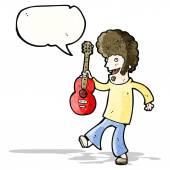 Hombre hippie de dibujos animados con guitarra — Vector de stock