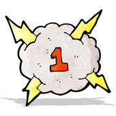 Cartoon thunder cloud with number one — Stock Vector
