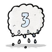 Cartoon raincloud with number three — Stock Vector