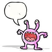 Cartoon alien with speech bubble — Stock Vector