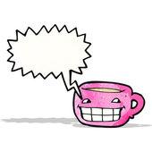Grinning coffee mug cartoon — Stock Vector