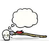 Spear in skull cartoon — Stock Vector
