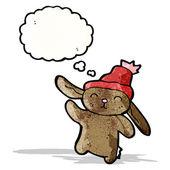 Cute rabbit in hat cartoon — Vettoriale Stock