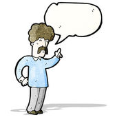 Cartoon man with mustache talking — Stock Vector