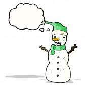 Muñeco de nieve de la historieta — Vector de stock