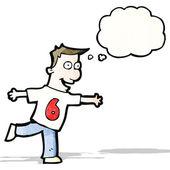 Kreslený muž v košili číslo šest — Stock vektor