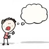 Cartoon complaining doodle woman — Stock Vector