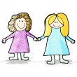 Child's drawing fo two friends holding hands — Stock Vector #54458449