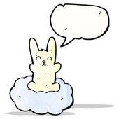 Kreslený králík na mrak — Stock vektor