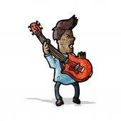 Hráč na elektrickou kytaru kreslený — Stock vektor