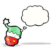 卡通 skul 在圣诞老人的帽子 — 图库矢量图片