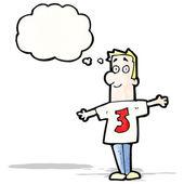 Kreslený muž v košili číslo tři — Stock vektor