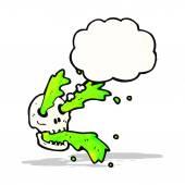 Gross slime squirting skull cartoon — Stock Vector