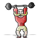 Cartoon circus strong man lifting weights — Stock Vector
