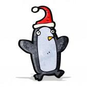 Dessin animé pingouin de noël — Vecteur