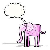 Cartoon elephant with thougth bubble — Vector de stock