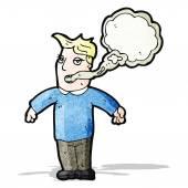 Cartoon man with smokers breath — Stock Vector