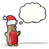 Cartoon robin in christmas hat — Cтоковый вектор