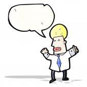卡通白肤金发的商人 — 图库矢量图片