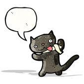 可爱的黑猫卡通 — 图库矢量图片