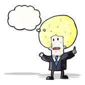 Cartoon big hair businessman — Stock vektor