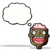 Cartoon head  with exposed brain — Stock Vector