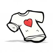 Love heart tee shirt cartoon — Stockvektor