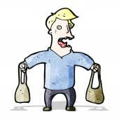 Karikatura člověka odnosné tašky — Stock vektor