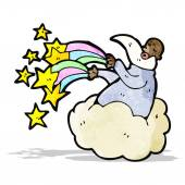 God on cloud cartoon — 图库矢量图片