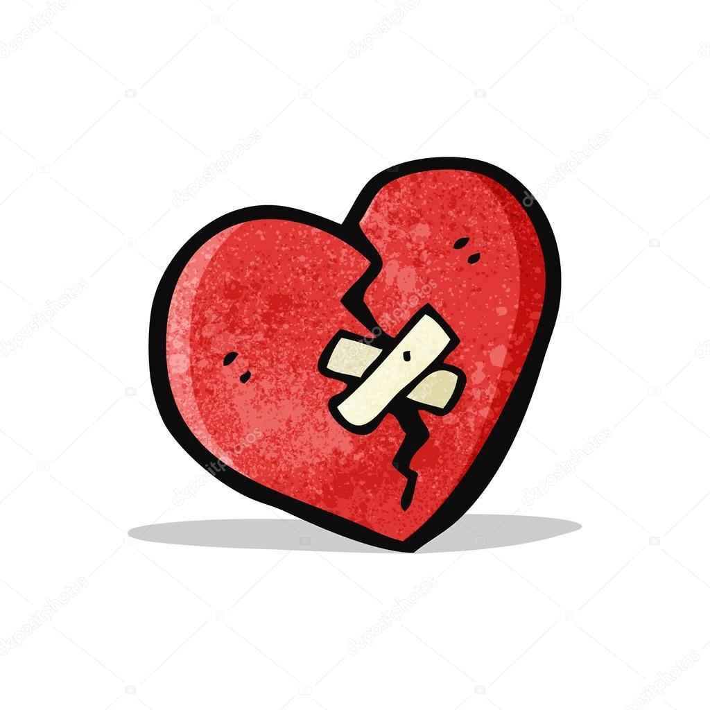 Cartone animato cuore spezzato — vettoriali stock