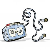 Personal cassette player cartoon — Stock Vector