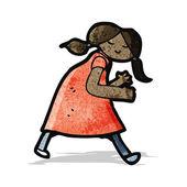 Cartoon girl ready for fight — Vector de stock