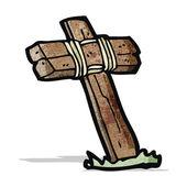 Wooden cross cartoon — Stock Vector