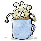 Doughnut in coffee cup cartoon — Stock Vector