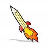 漫画ロケット鉛筆 — ストックベクタ