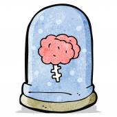 Cartoon brain in jar — Stock Vector
