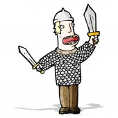 Cartoon medieval warrior — Stock Vector