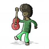 Cartoon man with guitar — Stock Vector