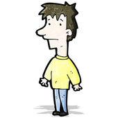 Cartoon boy shrugging shoulders — Stockvektor