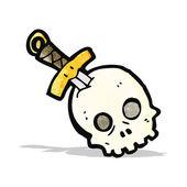頭蓋骨の漫画の短剣 — ストックベクタ