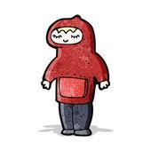 Cartoon boy in hooded top — Stock Vector