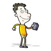 Cartoon happy boy with book — Stock Vector