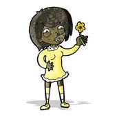 Cartoon proud woman with plant — 图库矢量图片