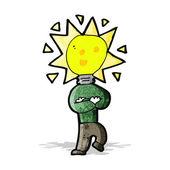 Cartoon lampa huvudet mannen — Stockvektor