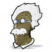 Cartoon genius scientist face — Stock Vector