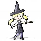 漫画の魔女の女の子 — ストックベクタ